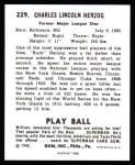 1940 Play Ball Reprint #229  Buck Herzog  Back Thumbnail