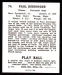 1940 Play Ball Reprint #74  Paul Derringer  Back Thumbnail