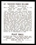 1940 Play Ball Reprint #27  Ted Williams  Back Thumbnail