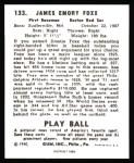 1940 Play Ball Reprint #133  Jimmie Foxx  Back Thumbnail