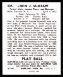 1940 Play Ball Reprint #235  John McGraw  Back Thumbnail