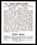1940 Play Ball Reprint #134  Joe Cronin  Back Thumbnail
