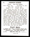 1940 Play Ball Reprint #6  Lefty Gomez  Back Thumbnail