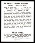 1940 Play Ball Reprint #96  Heinie Mueller  Back Thumbnail