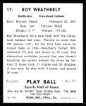 1941 Play Ball Reprint #17  Roy Weatherly  Back Thumbnail