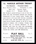 1941 Play Ball Reprint #16  Hal Trosky  Back Thumbnail