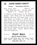 1941 Play Ball Reprint #68  Jack Knott  Back Thumbnail