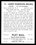 1941 Play Ball Reprint #12  Jim Brown  Back Thumbnail