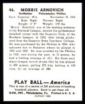 1939 Play Ball Reprint #46  Morrie Arnovich  Back Thumbnail