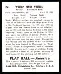 1939 Play Ball Reprint #22  Bucky Walters  Back Thumbnail