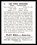 1939 Play Ball Reprint #2  Lee Grissom  Back Thumbnail