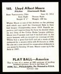 1939 Play Ball Reprint #162  Whitey Moore  Back Thumbnail