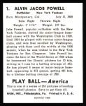 1939 Play Ball Reprint #1  Jake Powell  Back Thumbnail