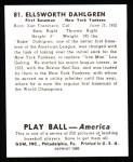1939 Play Ball Reprint #81  Babe Dahlgren  Back Thumbnail