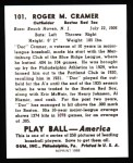 1939 Play Ball Reprint #101  Roger Cramer  Back Thumbnail