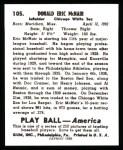 1939 Play Ball Reprint #105  Rabbit McNair  Back Thumbnail