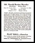 1939 Play Ball Reprint #120  Rabbit Warstler  Back Thumbnail