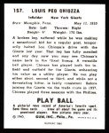 1940 Play Ball Reprint #157  Louis Chiozza  Back Thumbnail