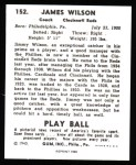 1940 Play Ball Reprint #152  Jimmy Wilson  Back Thumbnail