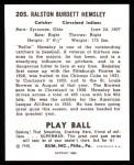 1940 Play Ball Reprint #205  Rollie Hemsley  Back Thumbnail