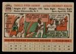 1956 Topps #308  Chuck Harmon  Back Thumbnail