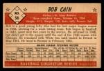 1953 Bowman #56  Bob Cain  Back Thumbnail
