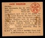 1950 Bowman #145  Jack Graham  Back Thumbnail