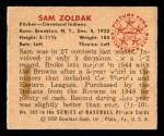 1950 Bowman #182 CR Sam Zoldak  Back Thumbnail