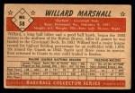 1953 Bowman #58  Willard Marshall  Back Thumbnail