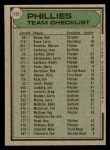 1979 Topps #112   -  Danny Ozark Phillies Team Checklist Back Thumbnail