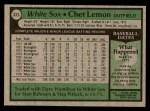 1979 Topps #333  Chet Lemon  Back Thumbnail
