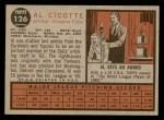 1962 Topps #126 GRN Al Cicotte  Back Thumbnail