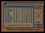 1978 Topps #278  Enrique Romo  Back Thumbnail