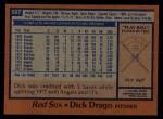 1978 Topps #567  Dick Drago  Back Thumbnail