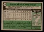 1979 Topps #105  Rick Camp  Back Thumbnail