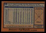 1978 Topps #265  Sal Bando  Back Thumbnail