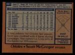 1978 Topps #491  Scott McGregor  Back Thumbnail