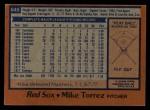 1978 Topps #645  Mike Torrez  Back Thumbnail