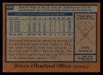 1978 Topps #632  Rowland Office  Back Thumbnail