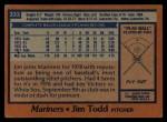 1978 Topps #333  Jim Todd  Back Thumbnail