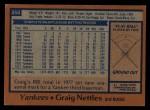 1978 Topps #250  Graig Nettles  Back Thumbnail