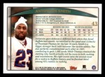 1998 Topps #43  Antowain Smith  Back Thumbnail