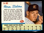 1962 Post Cereal #92  Norm Siebern   Front Thumbnail