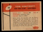 1960 Fleer #16  Tom Dimitroff  Back Thumbnail