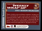 2003 Topps #298   -  Terrell Owens Weekly Wrap-Up Back Thumbnail