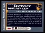 2003 Topps #297   -  Marshall Faulk Weekly Wrap-Up Back Thumbnail