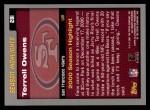 2001 Topps #281  Terrell Owens  Back Thumbnail