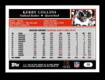 2005 Topps #72  Kerry Collins  Back Thumbnail