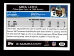 2005 Topps #308  Greg Lewis  Back Thumbnail