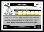 2006 Topps #44  Greg Lewis  Back Thumbnail